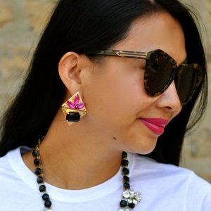 Pink and Blue Diamond Gem EARRINGS - E527P/BL